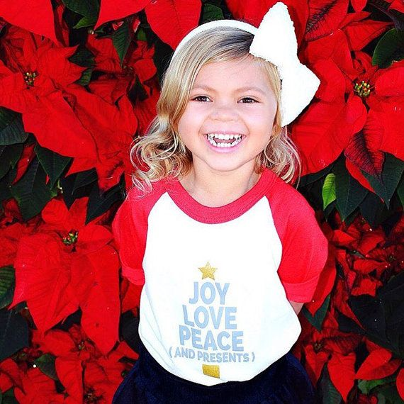 Christmas shirt. Unisex raglan red and white graphic tee shirt. Joy peace and love and presents- christmas tree and stars. Matching mommy and baby