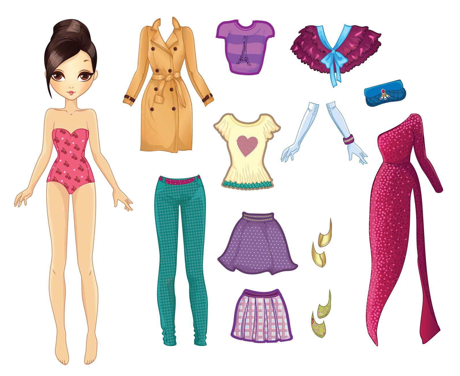 картинки бумажных кукол в одежде близкие