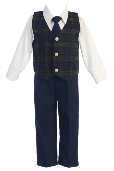 87642a23d0cc Boys Dresswear Set with Green Plaid Vest & Navy Pants 6m-7 in 2019 ...
