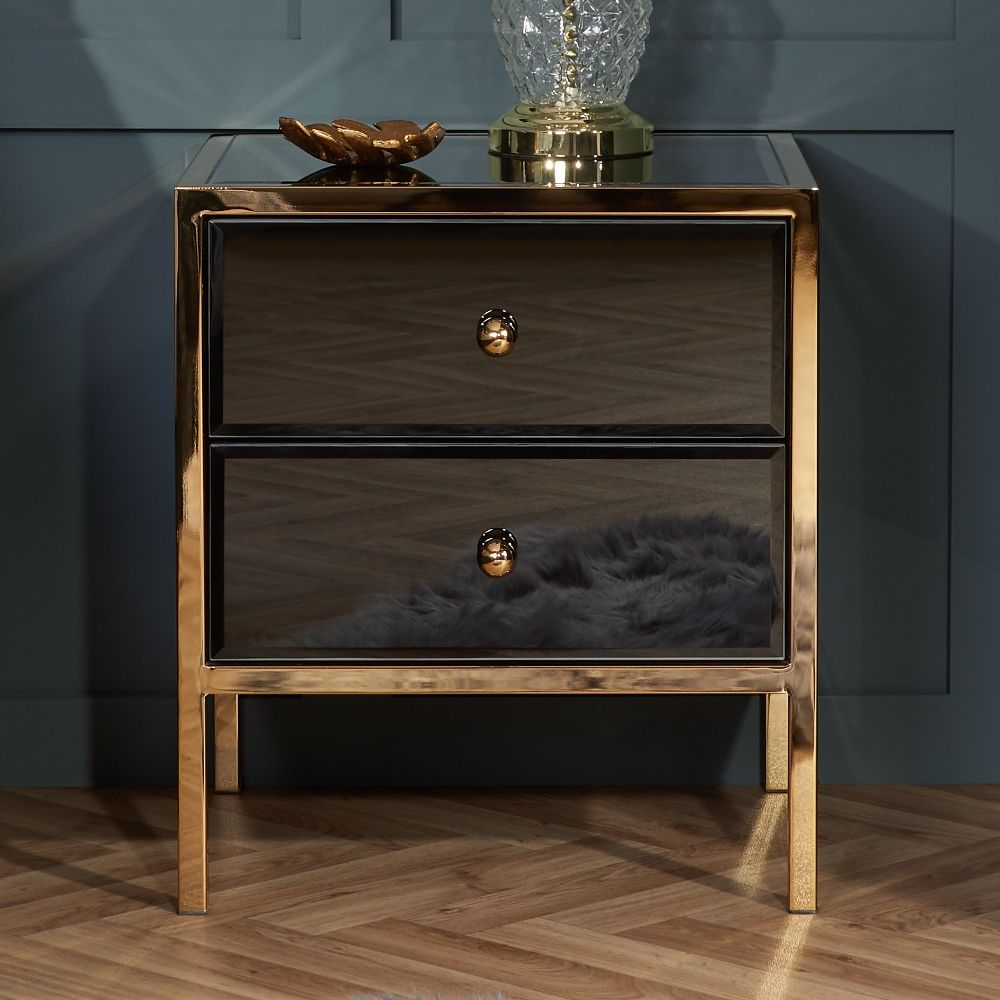 Fenwick Black And Gold 2 Drawer Bedside Table In 2020 Black