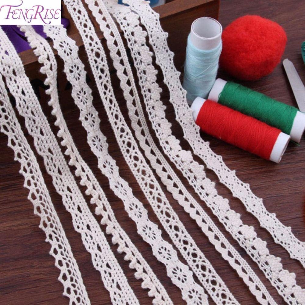 Fengrise 의류 10 야드 패치 워크 레이스 코튼 뜨개질 직물 바느질 액세서리 탄성 트림 Diy 수제 재료 리본 Sewing Accessories Sewing Fabric Arts Crafts Sewing