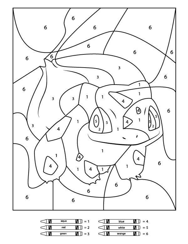 3 free pokemon color by number printable worksheets coloring activities pokemon coloring. Black Bedroom Furniture Sets. Home Design Ideas