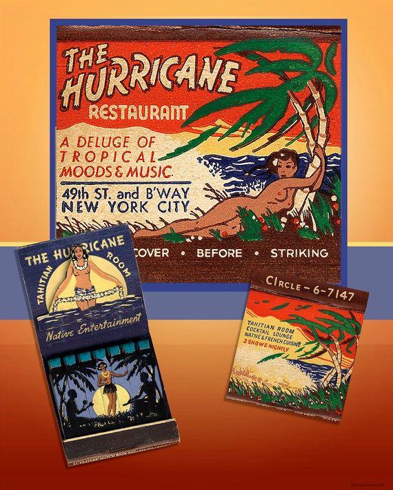 Tropical Poster Wall Art 1950s NY Hurricane Matchbook Art Tiki Wall ...