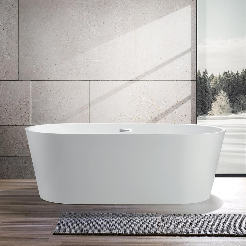Vanity Art Bordeaux 59 In Acrylic Flatbottom Freestanding Bathtub In White Va6815 The Home Depot Free Standing Bath Tub Soaking Bathtubs Bathtub