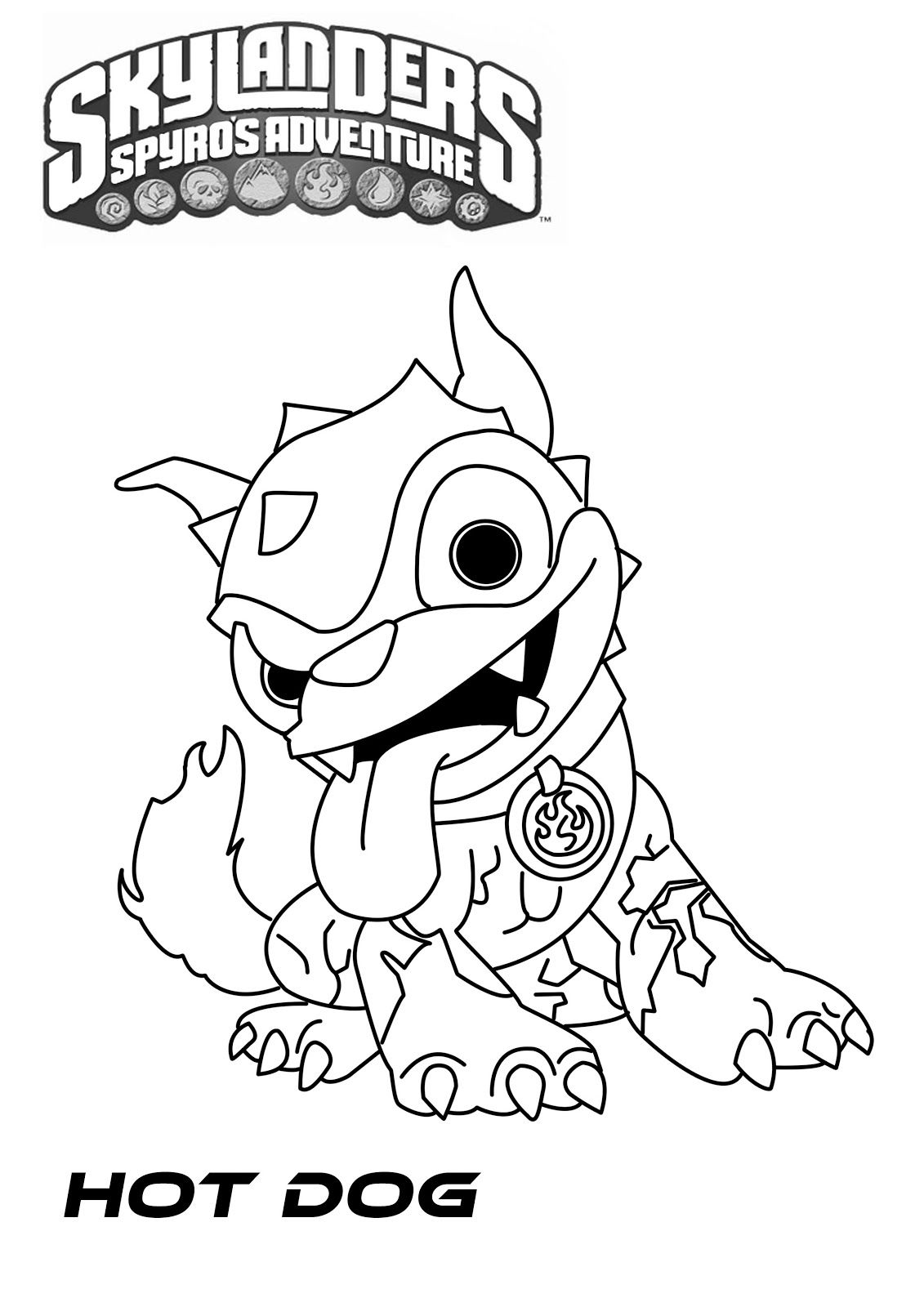 Free coloring pages for skylanders - Skylander Hot Dog Coloring Pages Jpg 1131 1600
