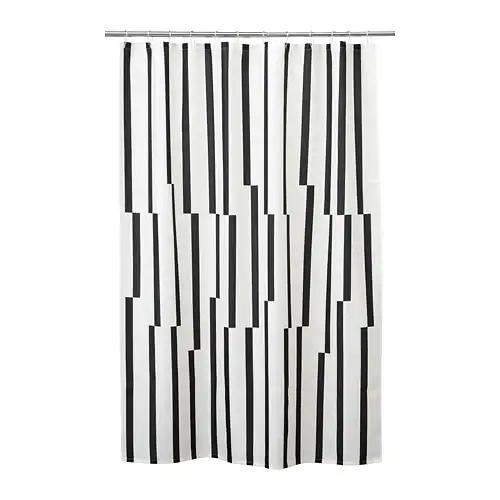 Kinnen Shower Curtain White Black 71x71 White Shower