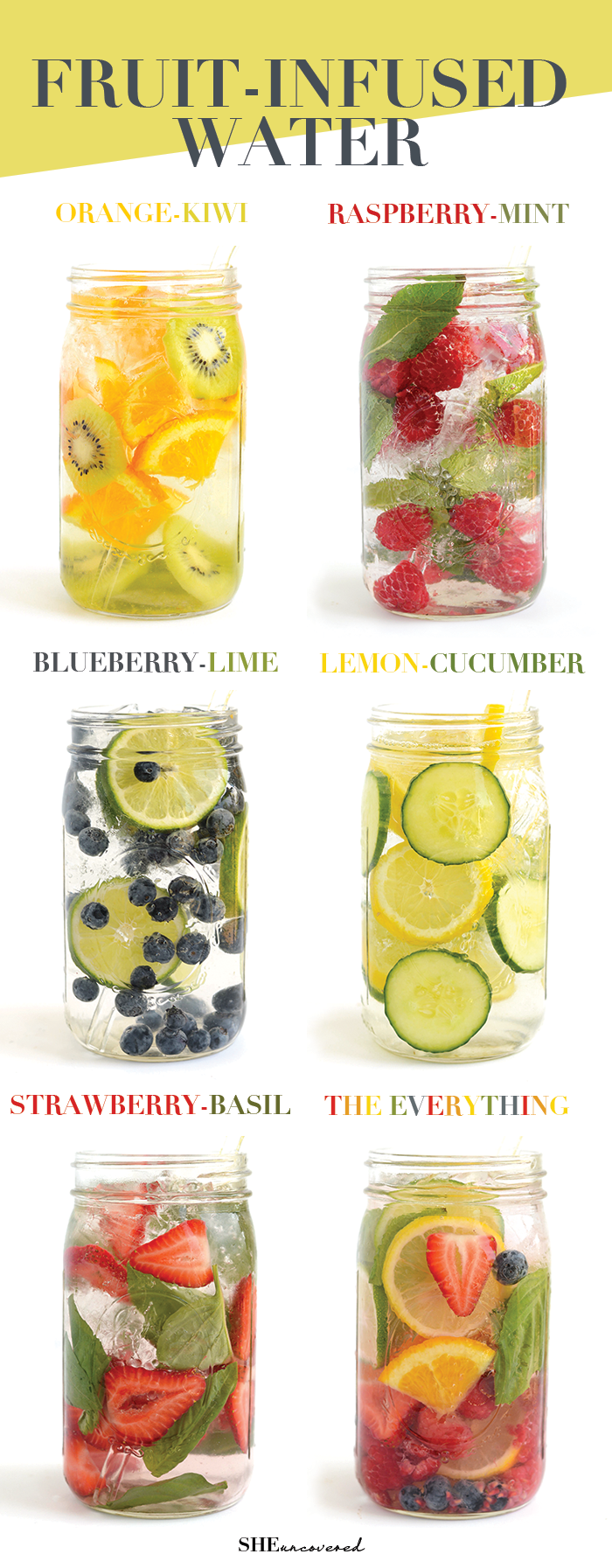 Fruit-Infused Water - 6 Ways - Get in your daily water quota with this Fruit-Infused Water. From berries, to citrus, to cucumber and herbs, we've got you covered for refreshing drink recipes all summer long and beyond! - If you like this pin, repin it and follow our boards :-) #FastSimpleFitness - www.facebook.com/FastSimpleFitness