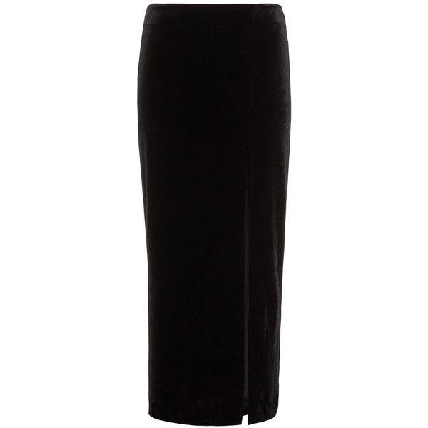 Studio Black Plus Size Slit detail velvet maxi skirt ($87) ❤ liked on Polyvore featuring skirts, black, plus size, slit maxi skirt, velvet maxi skirt, long slit skirt, maxi skirt and long maxi skirts