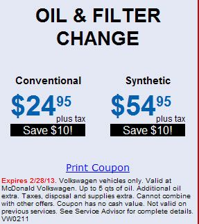 Vw Oil And Filter Change Print Coupons Oil Filter Car Volkswagen