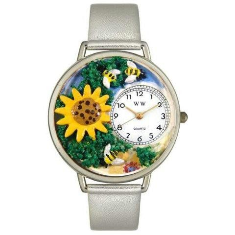 Whimsical Unisex Sunflower Silver Leather Watch