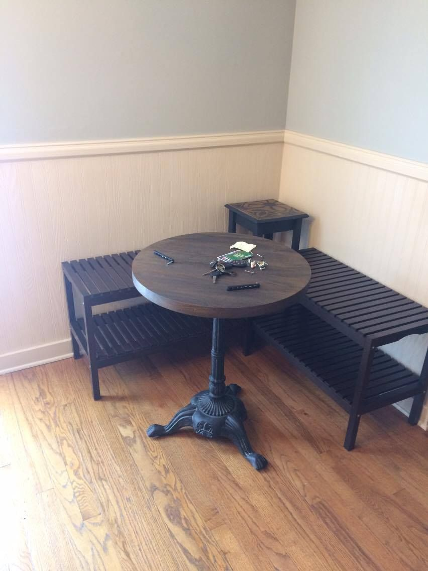 Ikea Mogler Benches Turned Corner Breakfast Eating Nook Home Decor