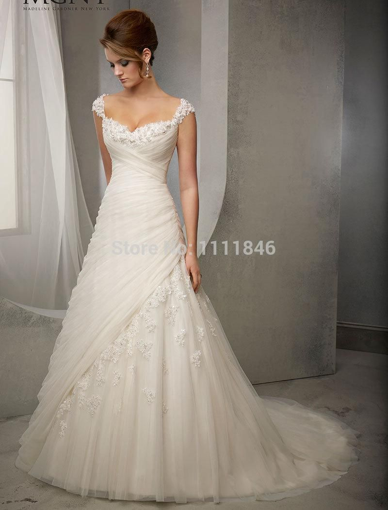Elegant Princess Capped Sleeves Wedding Dresses 2015 Sweetheart A ...
