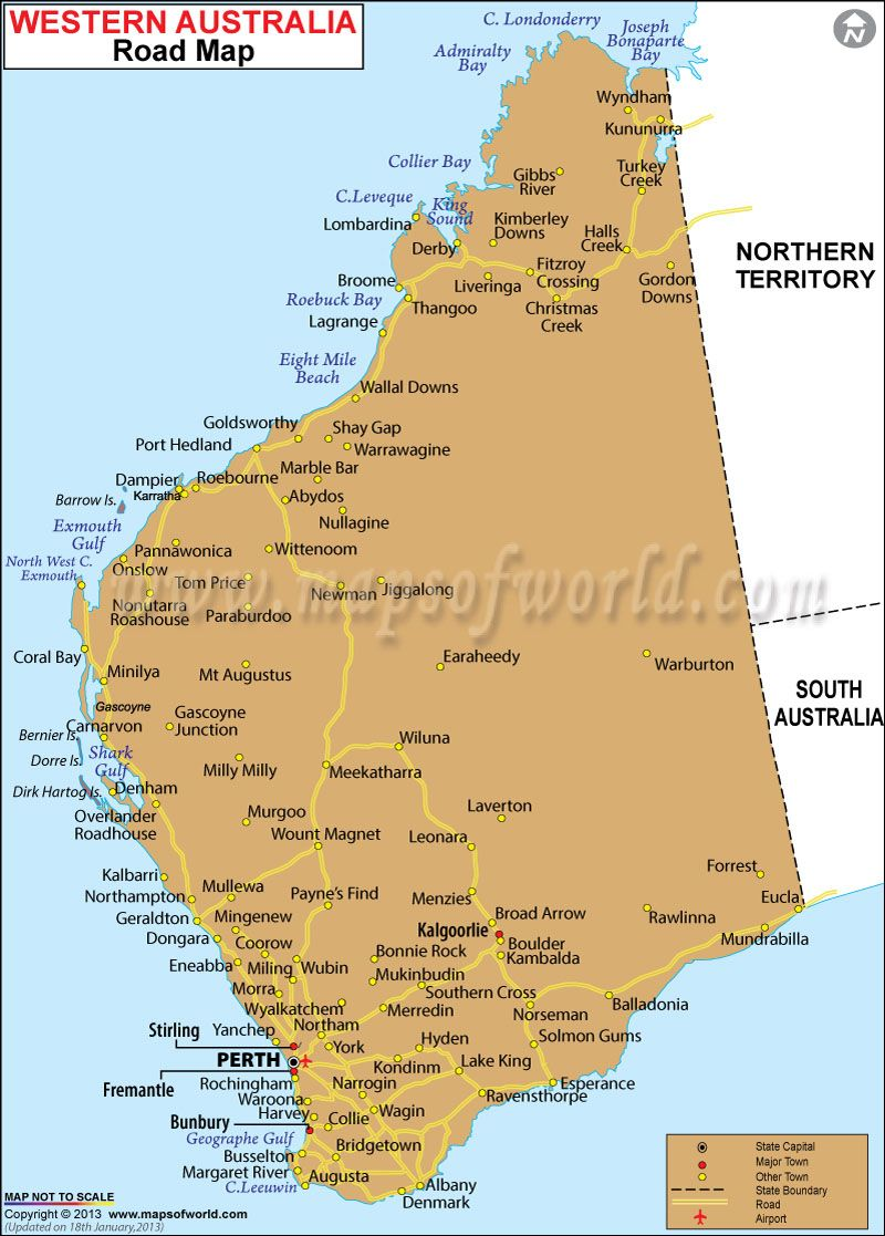 western australia road map indicates all the major roads highways spreaded across the state with airports location with state boundaries