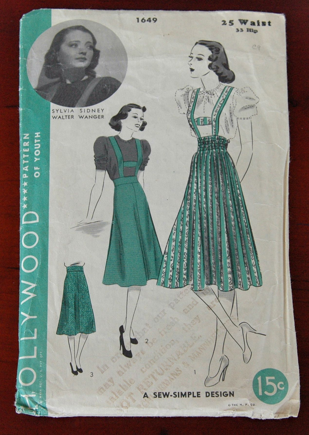 Hollywood 1649 a skirt sewing suspenders and vintage dress patterns hollywood 1649 a jeuxipadfo Images
