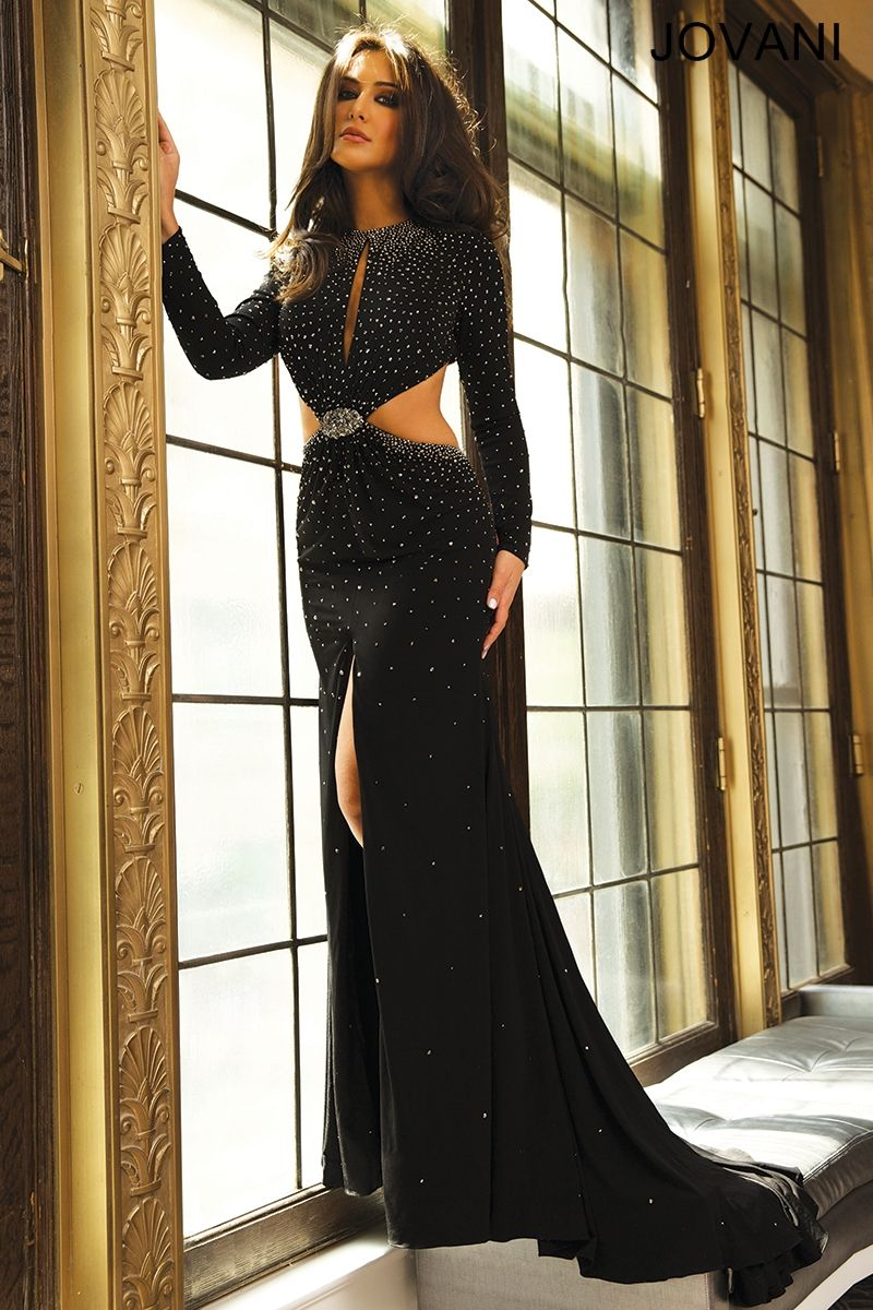 Long sleeve side cut out dress jovani gorgeous gowns