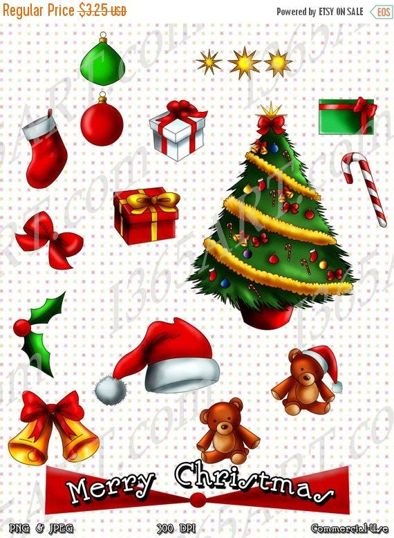 50 OFF SALE Merry Christmas Holiday Clipart, Scrapbooking