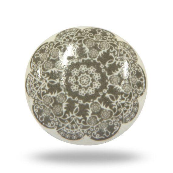 Unique White Door Knob With Lace Like Design, Round Ceramic Door Pull For  Interior Furniture, Decorative Cabinet Handle Or Cupboard Pull