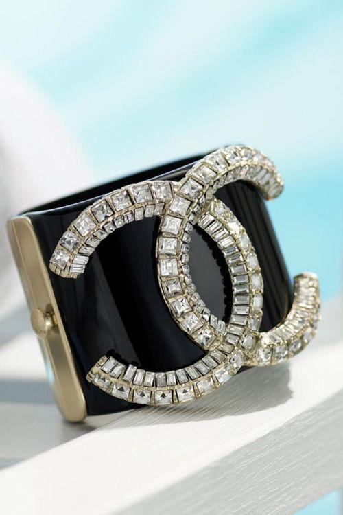 Vintage Chanel CC Black Cuff Bracelet