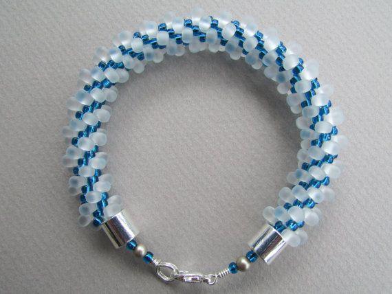 Frosted White and Sky Blue Kumihimo Bracelet by NoGlitzNoGlory, $40.00