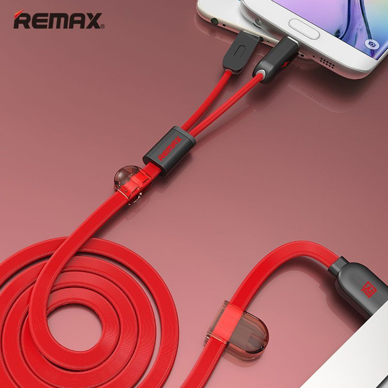 Remax Dual Heads iOS Micro USB Mobile Phone Cable Data Cable Charge Cable Fast Charge Cable 2.1A 1M For iOS Android Phone