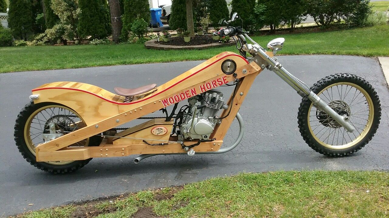 Fully Functional Wooden Motorcycle Street Legal Hardtail Chopper