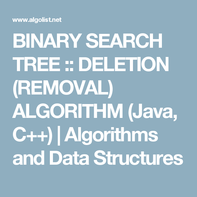 BINARY SEARCH TREE :: DELETION (REMOVAL) ALGORITHM (Java, C