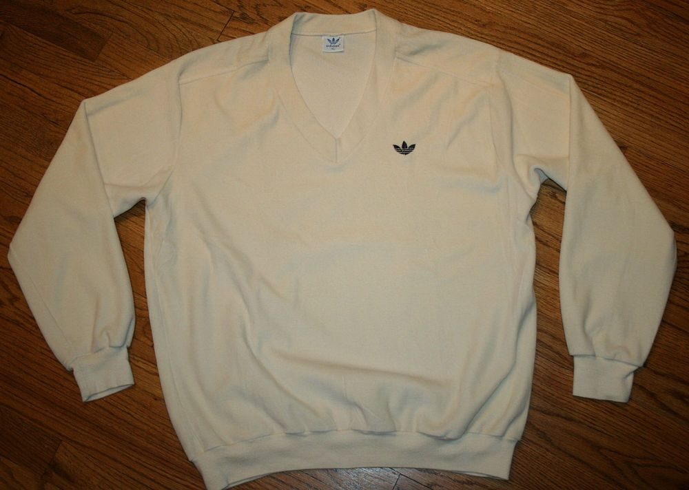 d1417115933 Vintage Adidas v-neck velour Sweater Men's XL  cotton/polyester/trefoil/golf/rare #adidas #VNeck