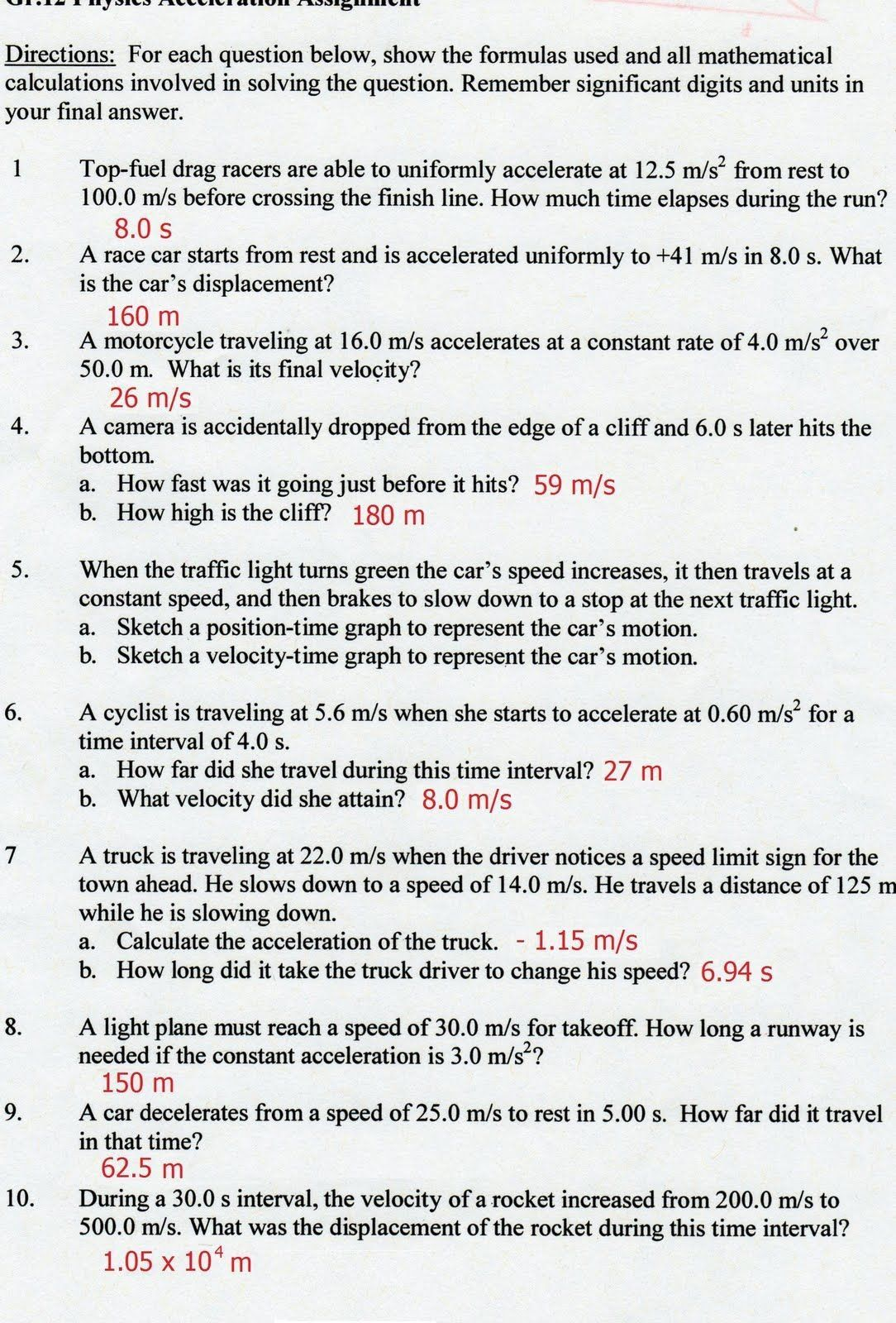 Velocity Worksheet With Answers Gravitational Worksheet W