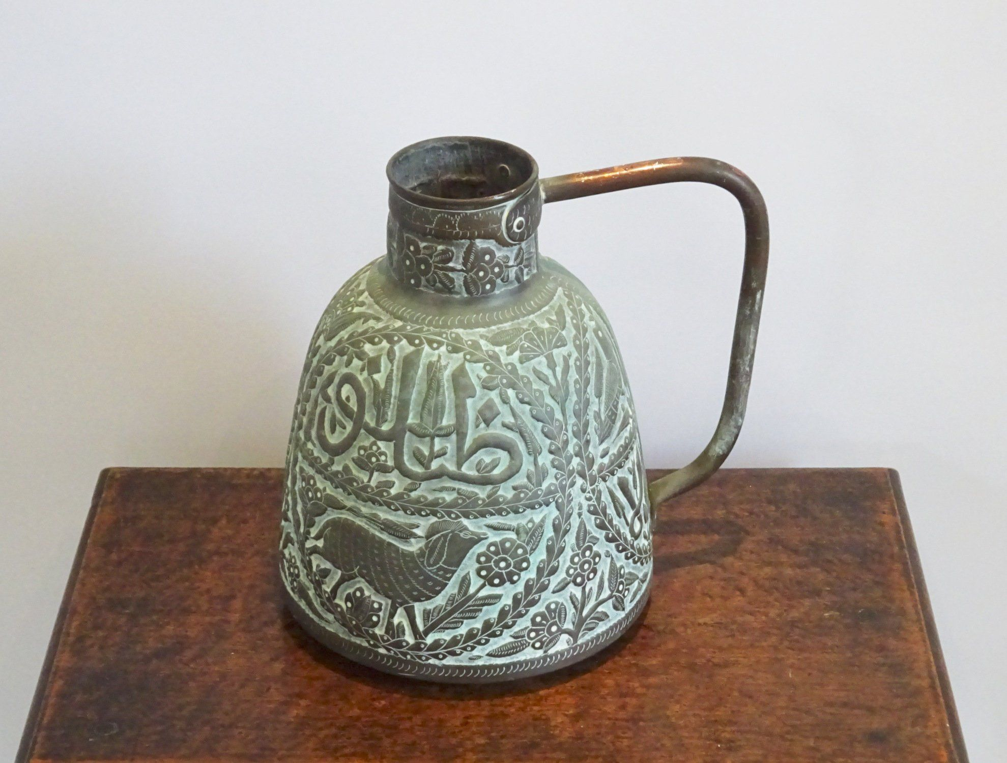 Antique Middle Eastern Arabic copper water jug, Cairoware