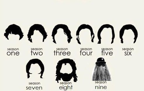 Fresh From The Supernatural Sam S Hair Through The Seasons Sams Hair Supernatural Funny Supernatural