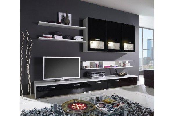 Meuble TV- Modèle Sandero: 3 x colles, 3 x étagères, meuble bas en 3 parties