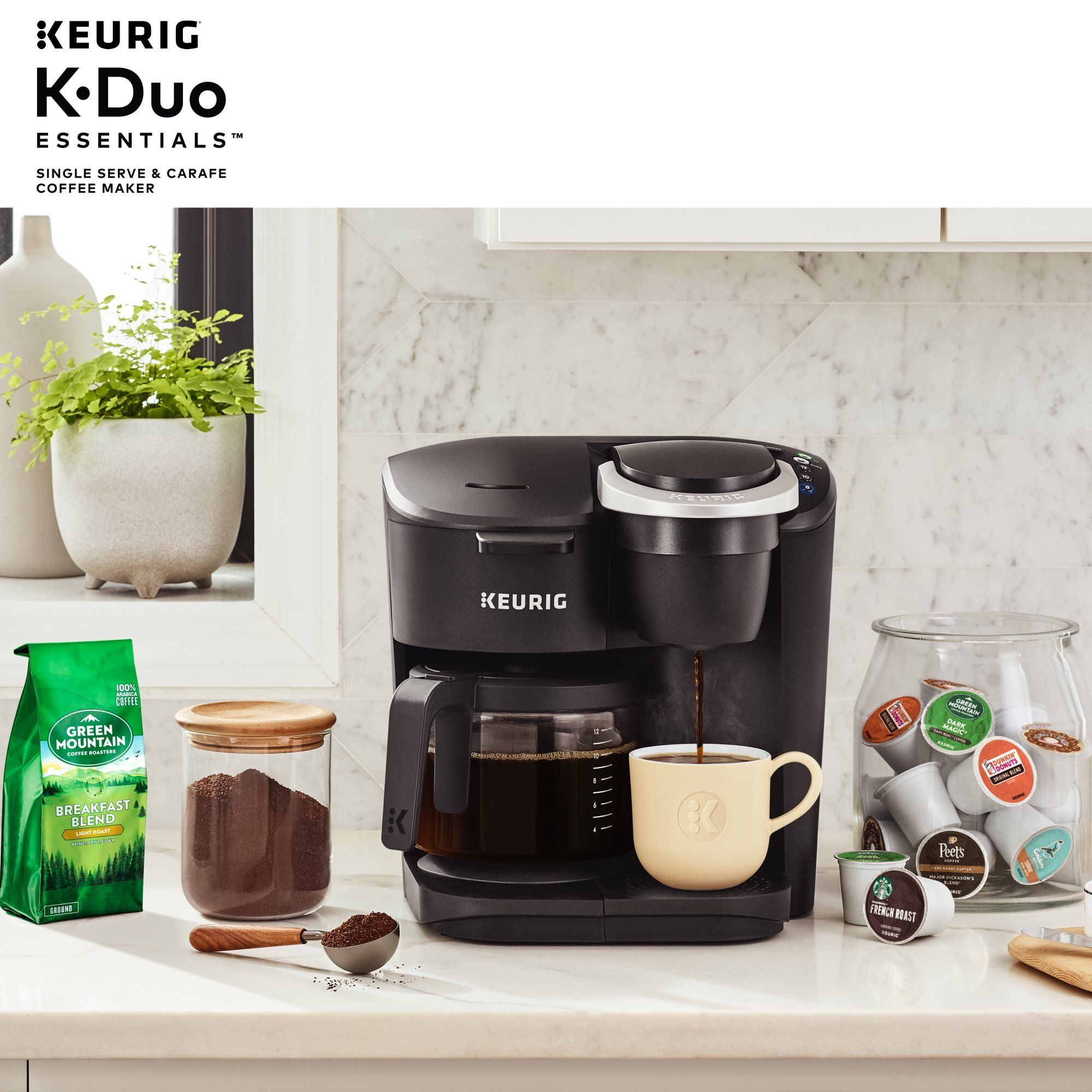 Keurig K Duo Essentials Coffee Maker With Single Serve K Cup Pod And 12 Cup Carafe Brewer Black Walmart Com In 2020 Coffee Maker Keurig Single Serve Coffee Makers