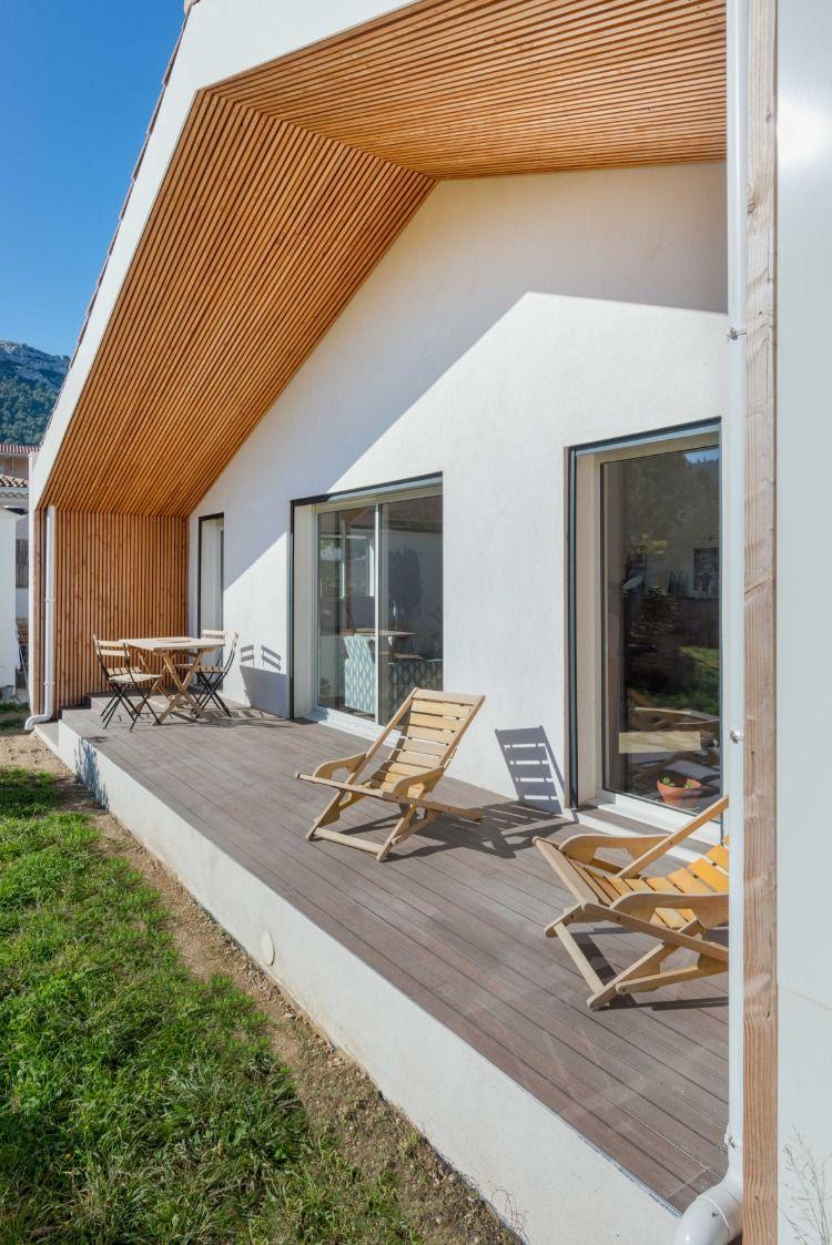 Extension Maison Terrasse Couverte perspective : terrasse couverte, sous face en liteaux de