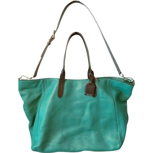 Pre Owned Cole Haan Crosby Colorblock Small Turquoise Grey Black Tote