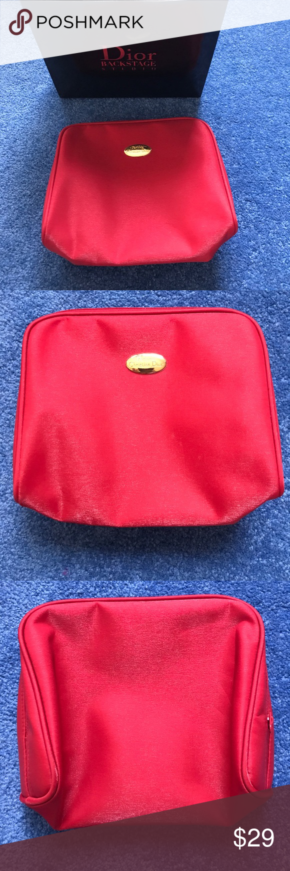Christian Dior Makeup cosmetic Red Shimmer bag NEW