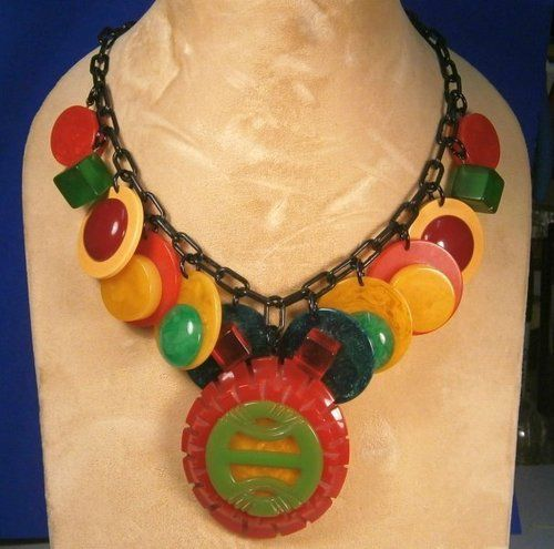 Necklace BAKELITE ON BAKELITE POKER CHIPS BLACK Celluloid Chain