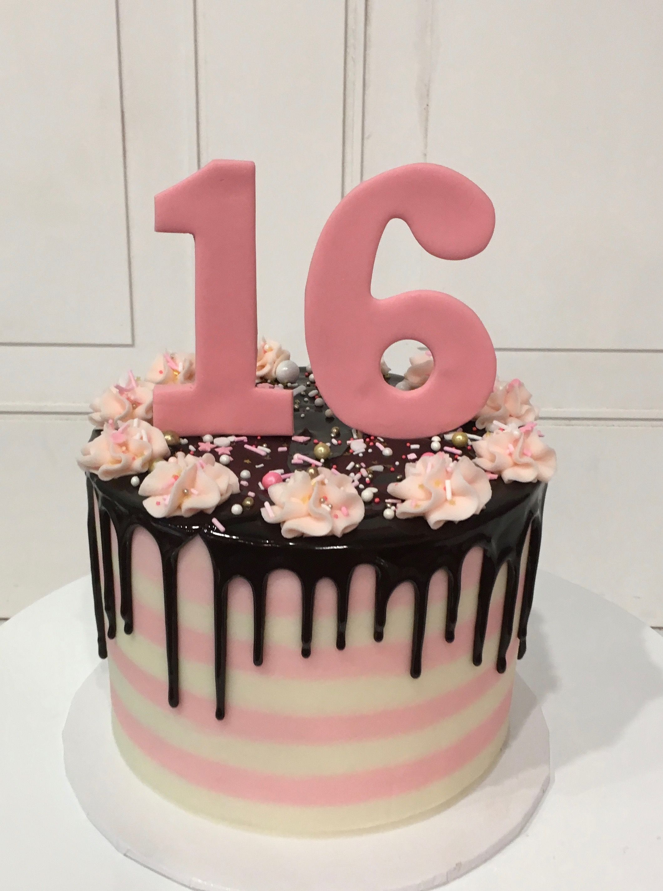 Pink and White Chocolate Ganache Drip Cake for 16th Birthday by 3 Sweet Girls Cakery! #sweet16cakes