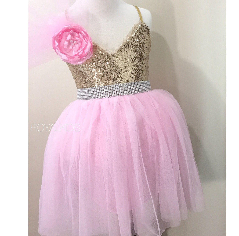 Pink dress baby  Pink Gold Girls Dress Princess Birthday Outfit Pink Tutu Dress