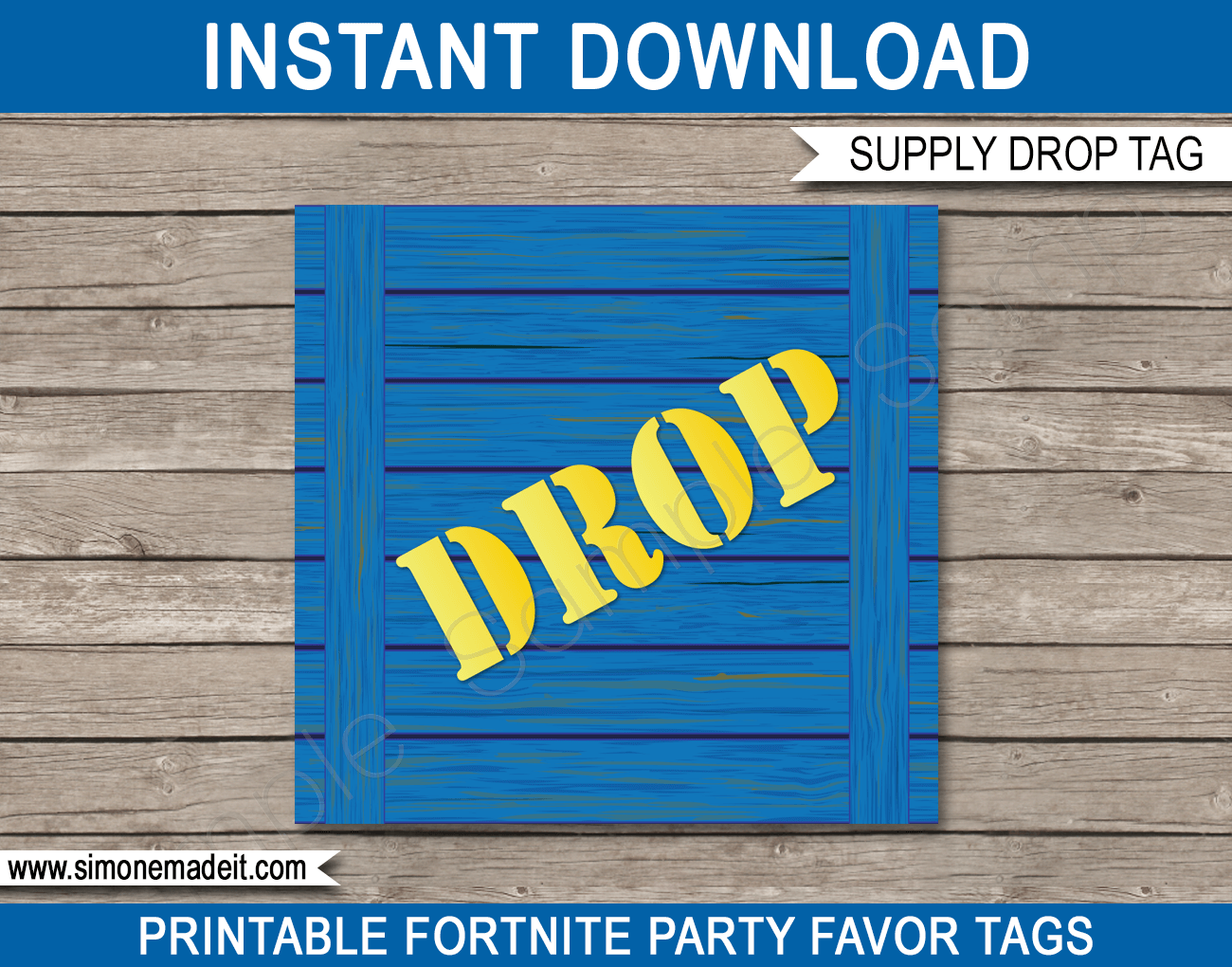 graphic relating to Free Fortnite Printable Labels called Fortnite Get together Printables, Decorations Invites blue