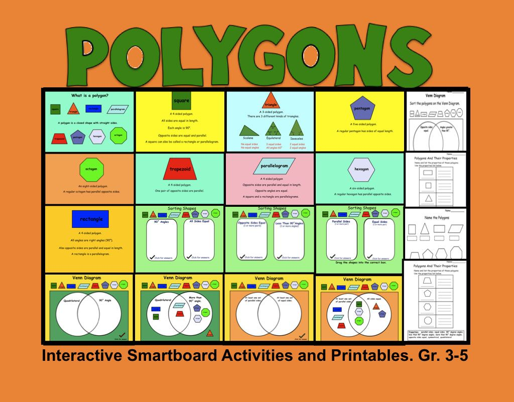 Polygons Interactive Smartboard Activities And Printables Gr 3 5