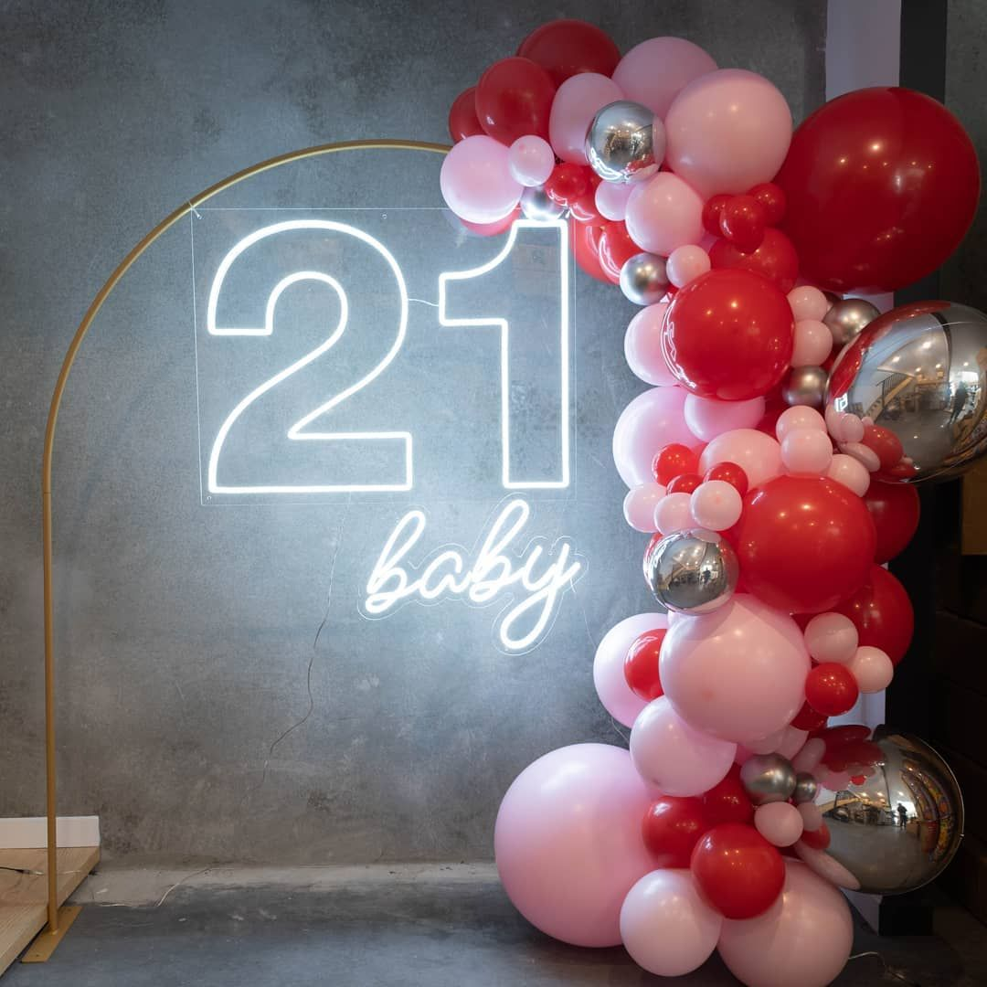 """What's a party without �� on Instagram: """"You Guys!!!! Neon and Balloon Package is back! BIGGER & BETTER. White 21 Neon ( or the classic pink 21) with a 2.5 meter garland and this…"""""""