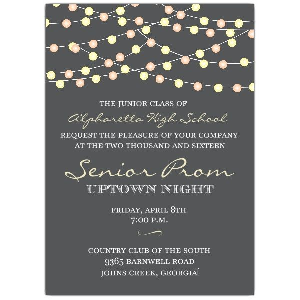 night lights prom invitations  with images