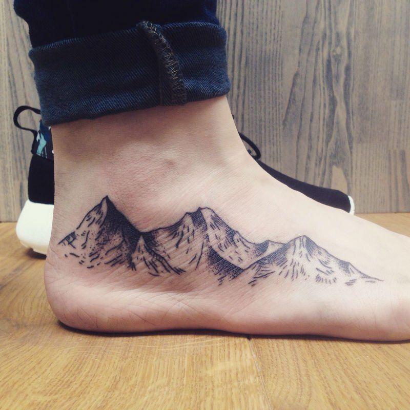 30 Epic Mountain Tattoo Ideas Feet tattoos, Mountain