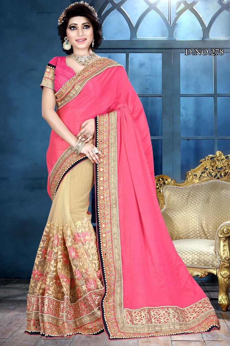 98fe049446ad6e Pink Cream Designer Party Wear Half Net Half Chiffon Saree With Heavy Lace  Border 278