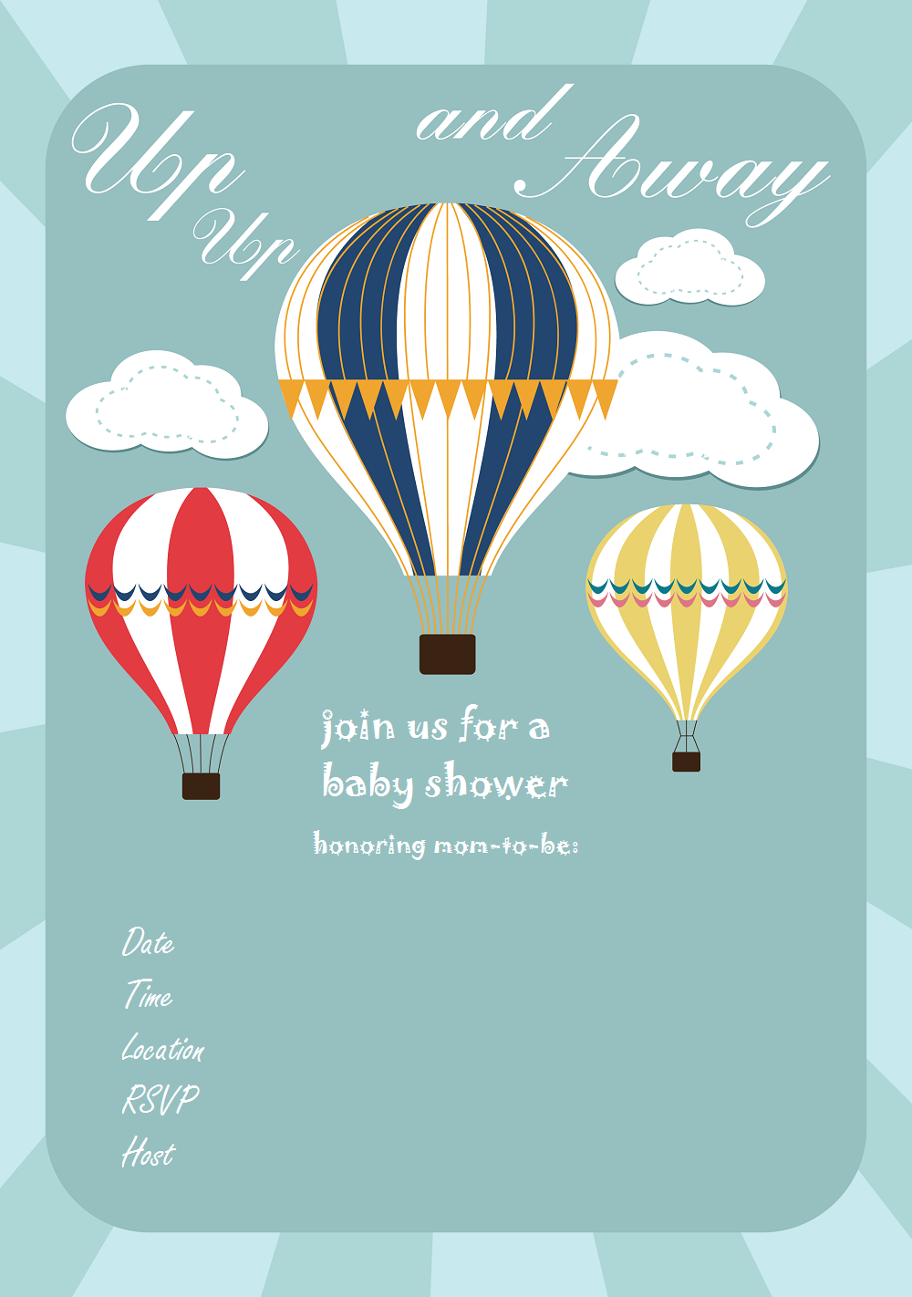 Free Baby Shower Invitation Hot Air Balloon Up Up And Away Via Www