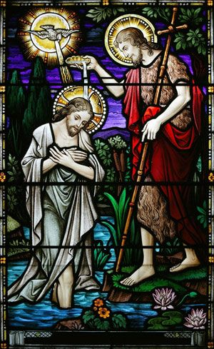 48e2d0586f63 Stained glass window of Jesus being baptized by St John the Baptist ...