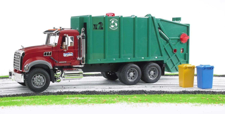 Amazon Com Bruder Toys Mack Granite Garbage Truck Ruby Red Green Toys Games Garbage Truck Toy Trucks Trucks