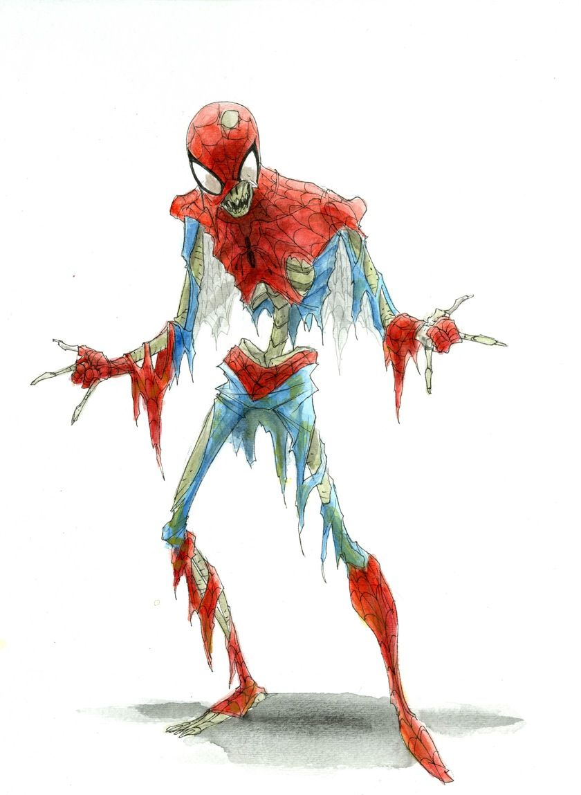 Geek Art Zombified Spider Man Skeleton Geek Art Zombie Drawings Zombie Art