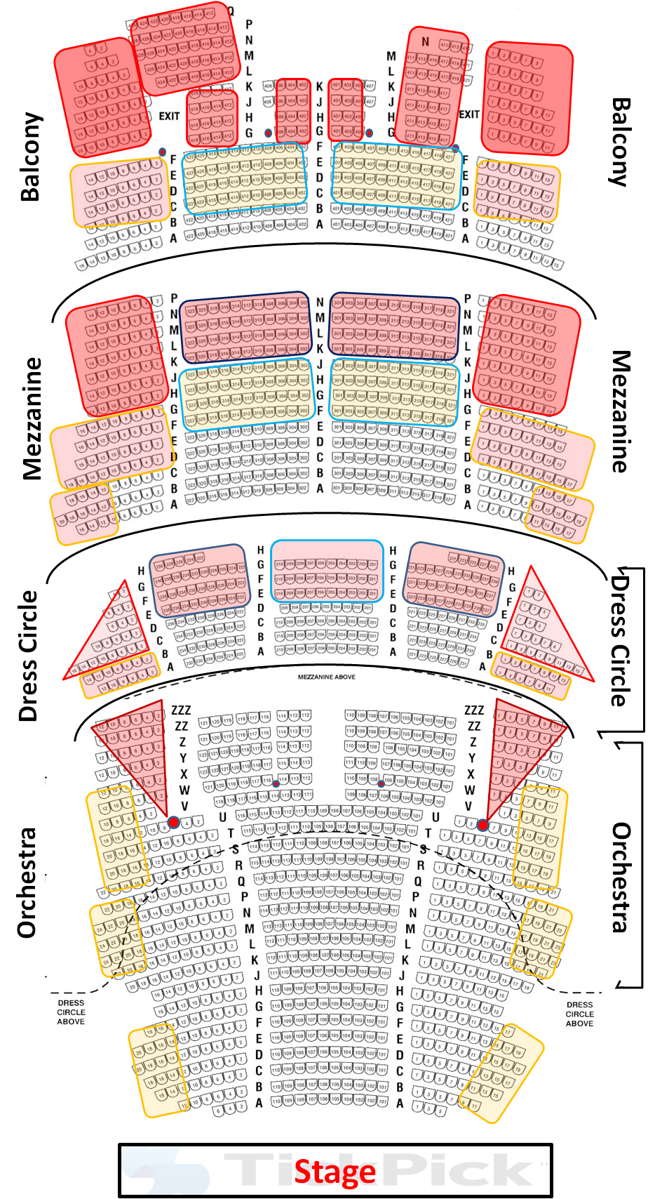 Detailed bank of america theater seating chart where it   best to sit also cibc seat views travel pinterest rh