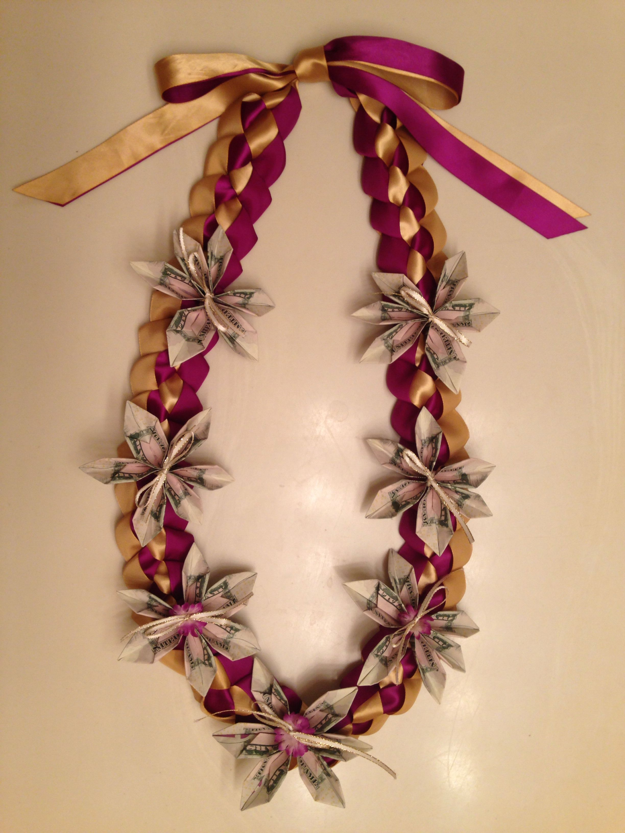 Made A Purple And Gold Single Braided Ribbon Lei With Money Origami